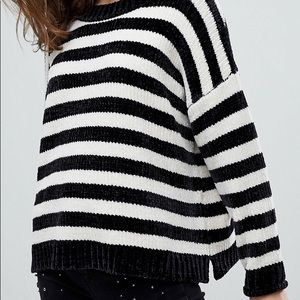 ASOS Striped Slouchy Chenille Sweater - Size Large